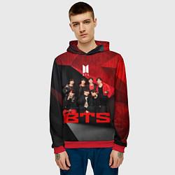 Толстовка-худи мужская BTS цвета 3D-красный — фото 2