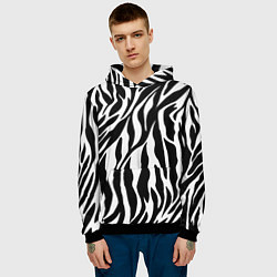Толстовка-худи мужская Зебра цвета 3D-черный — фото 2