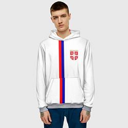 Толстовка-худи мужская Сборная Сербии цвета 3D-меланж — фото 2