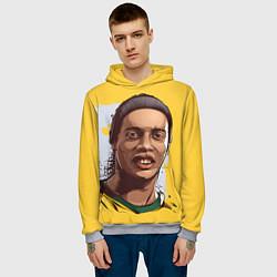 Толстовка-худи мужская Ronaldinho Art цвета 3D-меланж — фото 2
