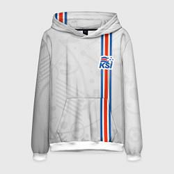 Толстовка-худи мужская Сборная Исландии по футболу цвета 3D-белый — фото 1