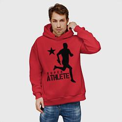 Толстовка оверсайз мужская Лёгкая атлетика цвета красный — фото 2