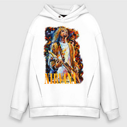 Толстовка оверсайз мужская Cobain Art цвета белый — фото 1