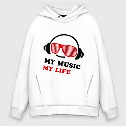 Толстовка оверсайз мужская My music my life цвета белый — фото 1