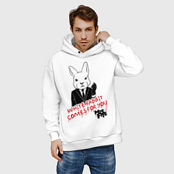 Толстовка оверсайз мужская Misfits: White rabbit цвета белый — фото 2