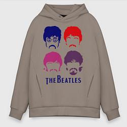 Толстовка оверсайз мужская The Beatles faces цвета утренний латте — фото 1