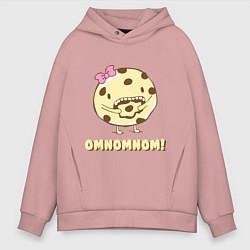 Толстовка оверсайз мужская Cake: Omnomnom! цвета пыльно-розовый — фото 1