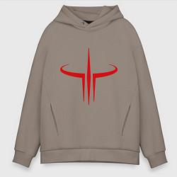 Толстовка оверсайз мужская Quake logo цвета утренний латте — фото 1