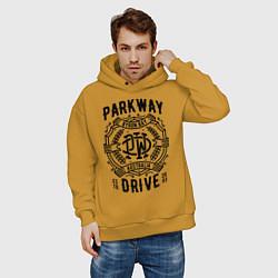 Толстовка оверсайз мужская Parkway Drive: Australia цвета горчичный — фото 2