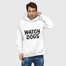 Толстовка оверсайз мужская Watch Dogs цвета белый — фото 2