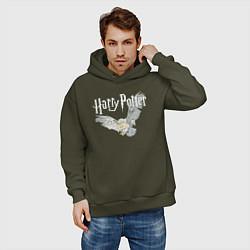 Толстовка оверсайз мужская Гарри Поттер: Букля цвета хаки — фото 2