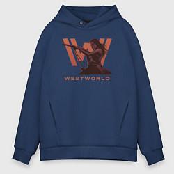 Толстовка оверсайз мужская Westworld цвета тёмно-синий — фото 1