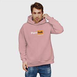 Толстовка оверсайз мужская PornHub premium цвета пыльно-розовый — фото 2
