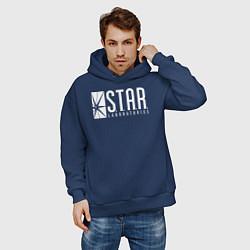 Толстовка оверсайз мужская S T A R Labs цвета тёмно-синий — фото 2