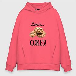 Толстовка оверсайз мужская Печеньки цвета коралловый — фото 1