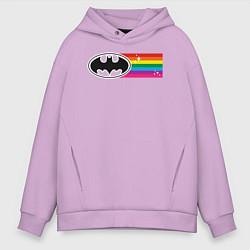 Толстовка оверсайз мужская Batman Rainbow Logo цвета лаванда — фото 1