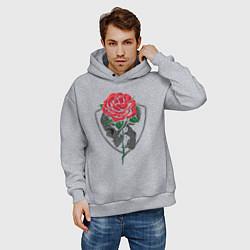 Толстовка оверсайз мужская Skull&Rose цвета меланж — фото 2