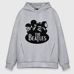 Толстовка оверсайз мужская The Beatles Band цвета меланж — фото 1