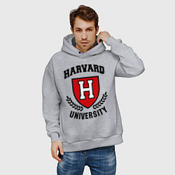 Толстовка оверсайз мужская Harvard University цвета меланж — фото 2