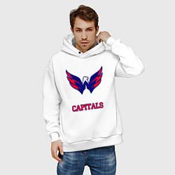 Толстовка оверсайз мужская Washington Capitals цвета белый — фото 2