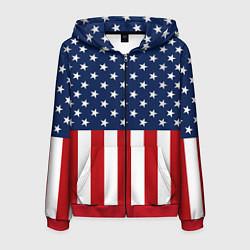 Толстовка 3D на молнии мужская Флаг США цвета 3D-красный — фото 1