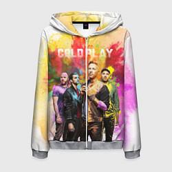 Толстовка 3D на молнии мужская Coldplay цвета 3D-меланж — фото 1