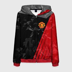 Толстовка 3D на молнии мужская FC Manchester United: Abstract цвета 3D-красный — фото 1
