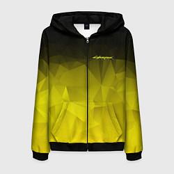 Толстовка 3D на молнии мужская Cyberpunk 2077: Yellow Poly цвета 3D-черный — фото 1