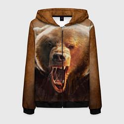 Толстовка 3D на молнии мужская Рык медведя цвета 3D-черный — фото 1