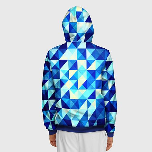 Мужская толстовка на молнии Синяя геометрия / 3D-Синий – фото 4