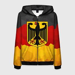 Толстовка 3D на молнии мужская Германия: герб цвета 3D-черный — фото 1