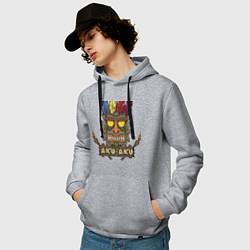 Толстовка-худи хлопковая мужская Aku-Aku (Crash Bandicoot) цвета меланж — фото 2