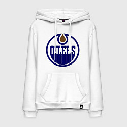 Толстовка-худи хлопковая мужская Edmonton Oilers цвета белый — фото 1