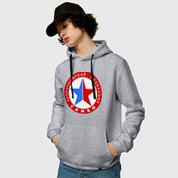 Толстовка-худи хлопковая мужская Федерация САМБО цвета меланж — фото 2