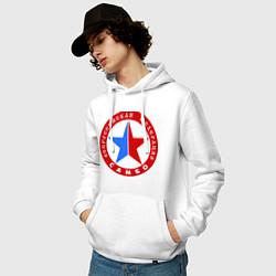 Толстовка-худи хлопковая мужская Федерация САМБО цвета белый — фото 2