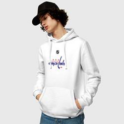Толстовка-худи хлопковая мужская Washington Capitals: Ovechkin 8 цвета белый — фото 2