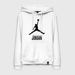 Толстовка-худи хлопковая мужская Jordan Style цвета белый — фото 1