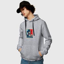 Толстовка-худи хлопковая мужская Chuck Poster цвета меланж — фото 2