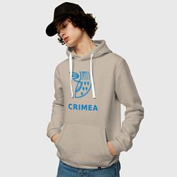 Толстовка-худи хлопковая мужская Crimea цвета миндальный — фото 2