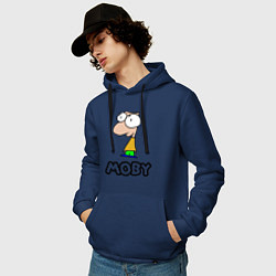 Толстовка-худи хлопковая мужская Moby цвета тёмно-синий — фото 2