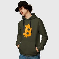Толстовка-худи хлопковая мужская Bitcoin Boss цвета хаки — фото 2