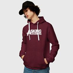 Толстовка-худи хлопковая мужская Asking Alexandria цвета меланж-бордовый — фото 2