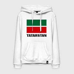 Толстовка-худи хлопковая мужская Флаг Татарстана цвета белый — фото 1