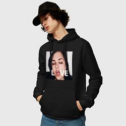 Толстовка-худи хлопковая мужская Sasha Grey LOVE цвета черный — фото 2