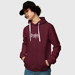 Толстовка-худи хлопковая мужская Stigmata цвета меланж-бордовый — фото 2