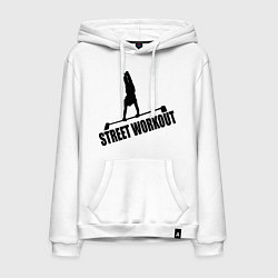 Толстовка-худи хлопковая мужская Street WorkOut цвета белый — фото 1