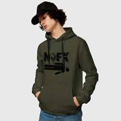Толстовка-худи хлопковая мужская NOFX crushman цвета хаки — фото 2