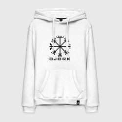 Толстовка-худи хлопковая мужская Bjork Rune цвета белый — фото 1