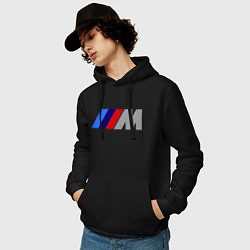 Толстовка-худи хлопковая мужская BMW M цвета черный — фото 2