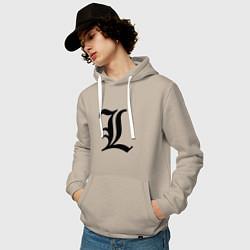 Толстовка-худи хлопковая мужская L - Death Note цвета миндальный — фото 2